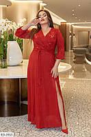 50-60 р. Длинное блестящее вечернее платье Лазерь больших размеров
