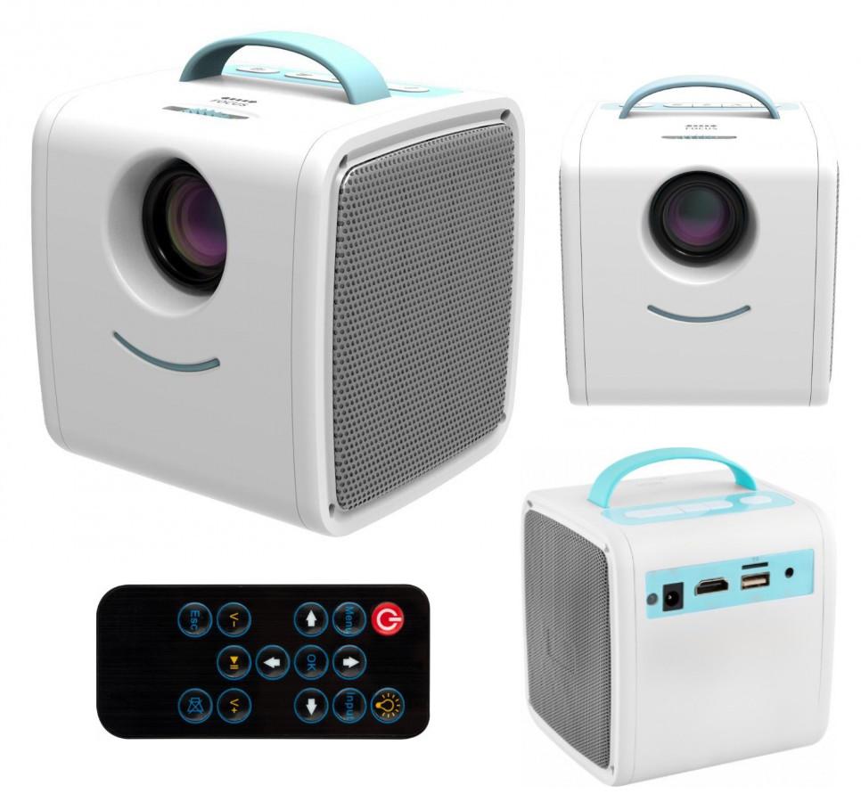 Мультимедийный мини проектор для детей SUNROZ Q2 Kids Story Projector 3000 люмен бело-голубой