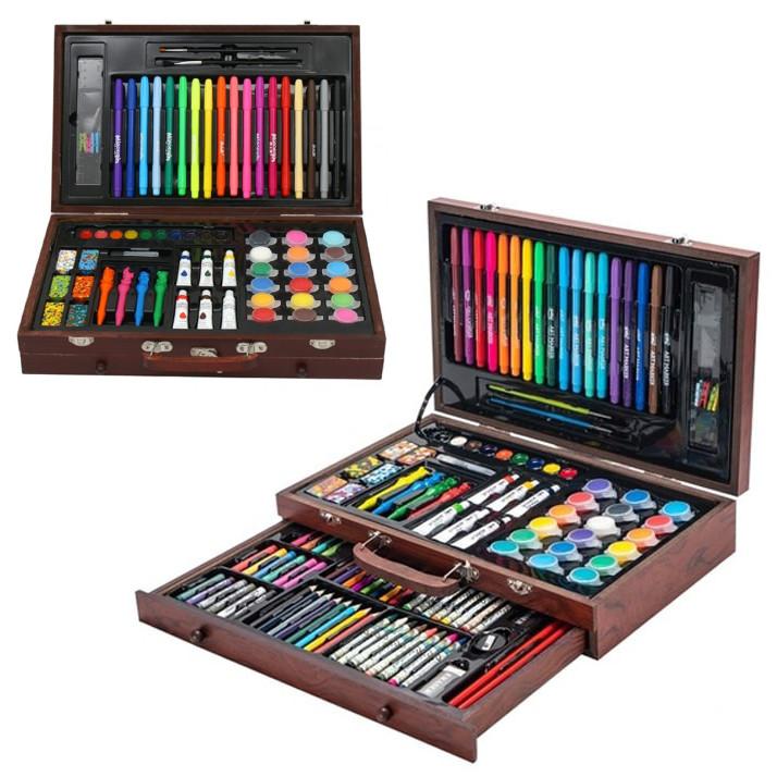 Набор для рисования и творчества в деревянном чемодане Tool Kit 123 предмета