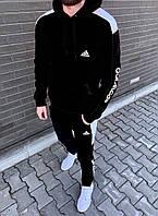 Теплый мужской спортивный костюм Adidas(адидас) Костюм утепленный мужской Adidas( худи и штаны адидас)