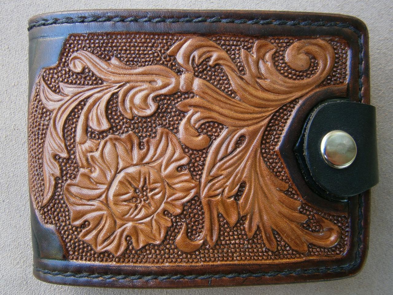 Авторские кожаный кошелек полностью ручной работы узор тиснение цветы, сова, грифон
