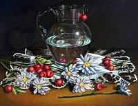 """Схема для вышивания бисером Натюрморт """"Ромашки с черешней""""  S-202"""