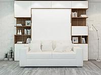 Шкаф-кровать с диваном, пеналом, полками и антресолью