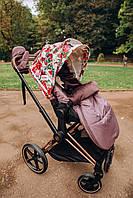 Конверт зимовий дитячий в коляску універсальний для усіх колясок. Колір Фрез