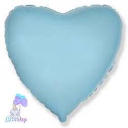 Фольгированный Шар Сердце Flexmetal 9''/23 см Пастель Голубой