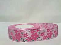 Лента атласная с рисунком 2,5см светло-розовая с цветами