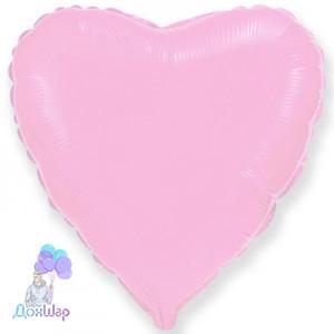 Фольгированный Шар Сердце Flexmetal 9''/23 см Пастель Розовый
