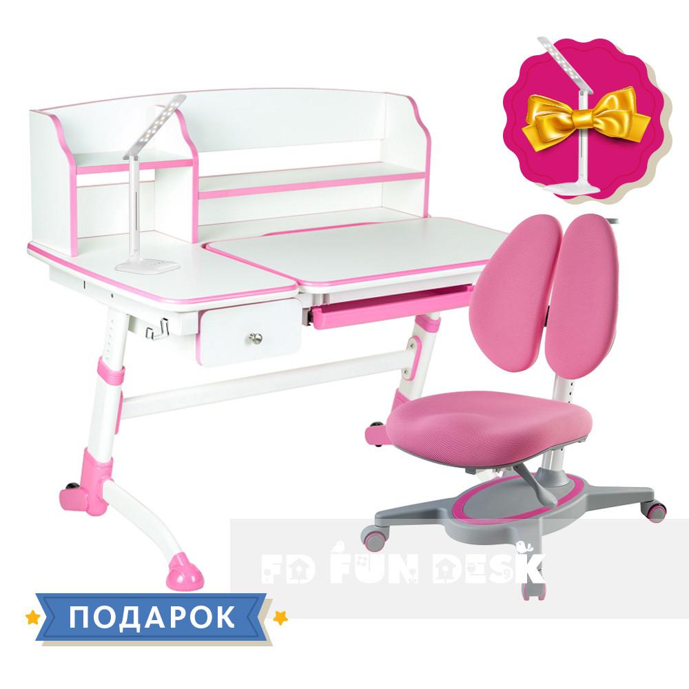 Комплект подростковая парта для школы Amare II Pink + ортопедическое кресло Primavera II Pink FunDesk