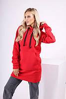 Жіночі худі міні теплі однотонні з капюшоном червоний, фото 1