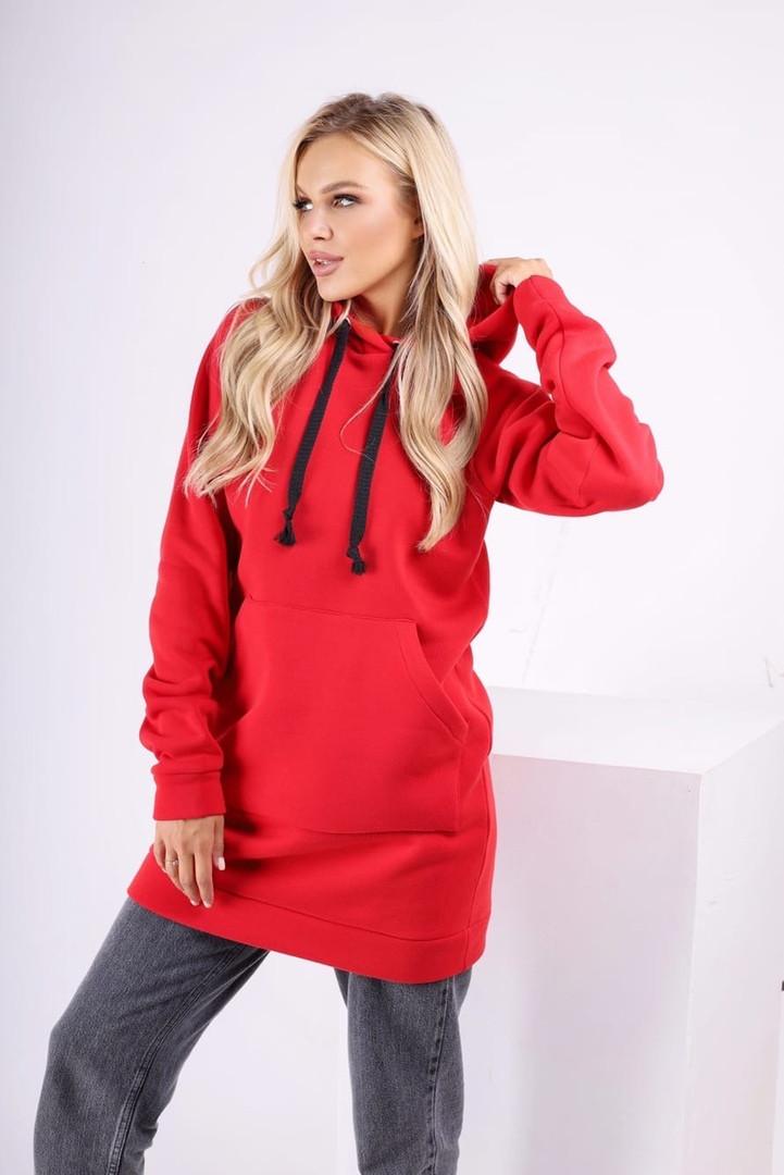 Жіночі худі міні теплі однотонні з капюшоном червоний