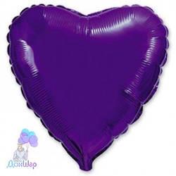 Фольгированный Шар Сердце Flexmetal 9''/23 см Металлик Фиолетовый