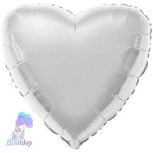 Фольгированный Шар Сердце Flexmetal 9''/23 см Металлик Серебро