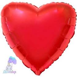 Фольгированный Шар Сердце Flexmetal 9''/23 см Металлик Красный