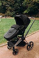 Конверт зимовий дитячий в коляску універсальний для усіх колясок. Чорний