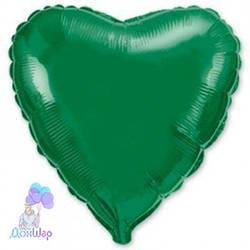 Фольгированный Шар Сердце Flexmetal 9''/23 см Металлик Зеленый