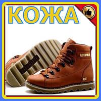 Мужские зимние кожаные ботинки CAT Expensive Fox | мужская зимняя обувь | Зимние мужские ботинки кожа