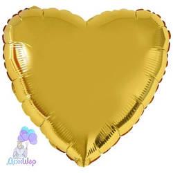 Фольгированный Шар Сердце Flexmetal 9''/23 см Металлик Золото