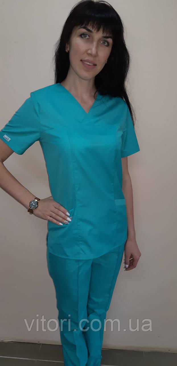 Женский медицинский костюм Классик хлопок короткий рукав