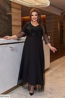 50-60 р. Женское вечернее платье в пол с шифоновой юбкой и пайетками больших размеров