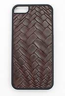 Чехол-накладка для Apple iPhone 5SE iPhone 5S iPhone 5, Stickscreen, пластик с коричневой кожей /case/кейс, фото 1