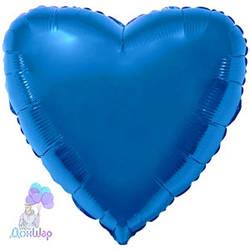 Фольгированный Шар Сердце Flexmetal 9''/23 см Металлик Синий
