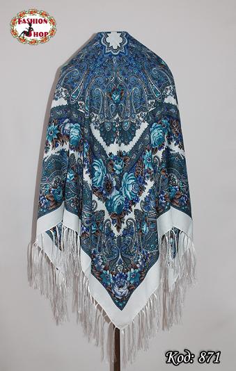 Белый/голубой женский павлопосадский платок Виталина