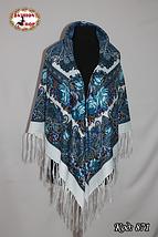 Белый/голубой женский павлопосадский платок Виталина, фото 3