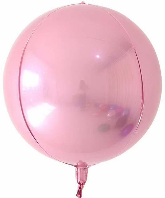 "Фольгована кулька 4D сфера рожевий 22"" (55см) Китай"