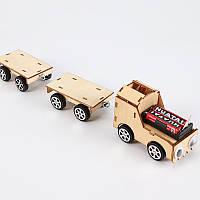 Поїзд з вагонами - дерев'яний конструктор дитячий - саморобка