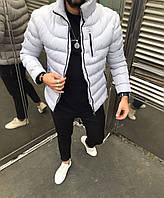 Мужская куртка зимняя светло серая ( холлофайбер, Турция )