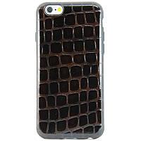 Чехол-накладка для Apple iPhone 6, iPhone 6S, силиконовый + кожа, Mycover, Коричневый /case/кейс /айфон