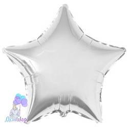 Фольгированный Шар Звезда Flexmetal 9''/23 см Металлик Серебро