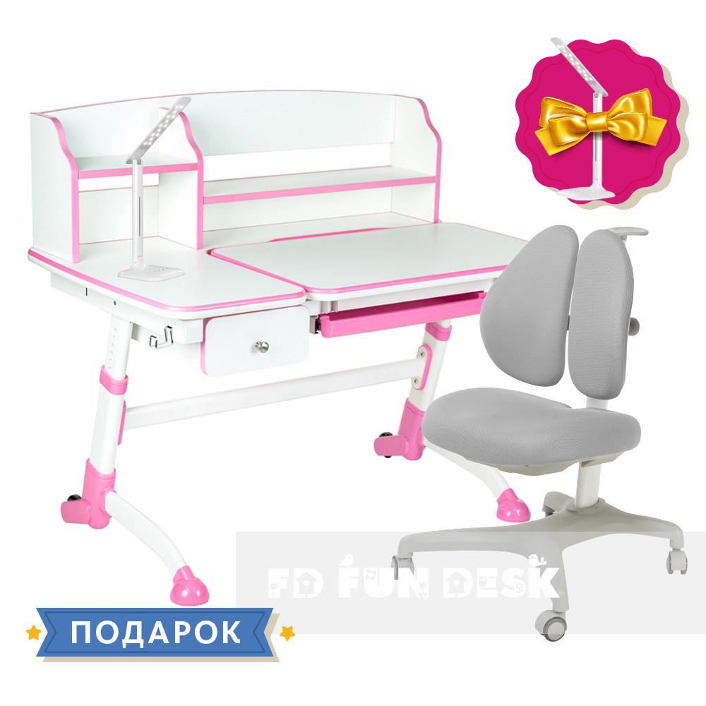 Комплект для девочки 👧 парта Amare II Pink с выдвижным ящиком + Подростковое кресло FunDesk Bello II Grey