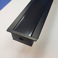 Профиль алюминиевый врезной SV-30 Black + матовый рассеиватель, фото 1