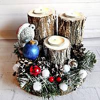 Подсвечник на спиле дерева с мишкой Тедди Подарок на день святого Николая или новый год Ручная работа