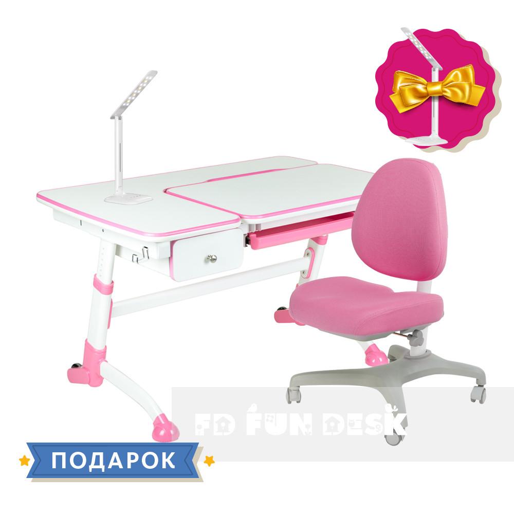 Комплект подростковая парта для школы Amare Pink + ортопедическое кресло Bello I Pink FunDesk