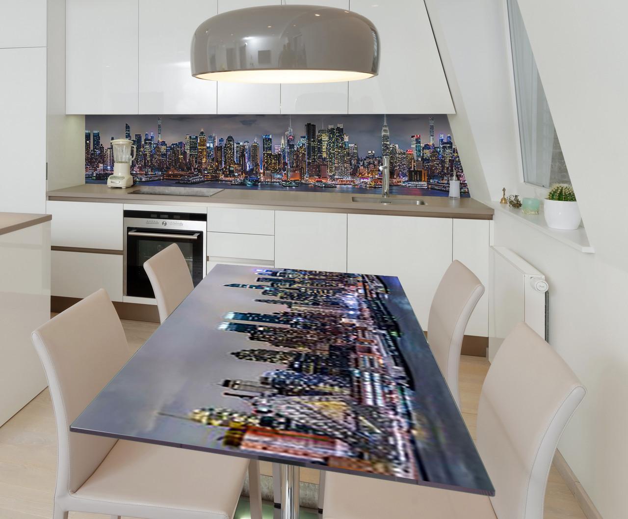 Наклейка 3Д виниловая на стол Zatarga «Небоскребы 3Д» 650х1200 мм для домов, квартир, столов, кофейн,