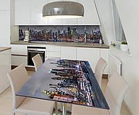 Наклейка 3Д виниловая на стол Zatarga «Небоскребы 3Д» 650х1200 мм для домов, квартир, столов, кофейн,, фото 1