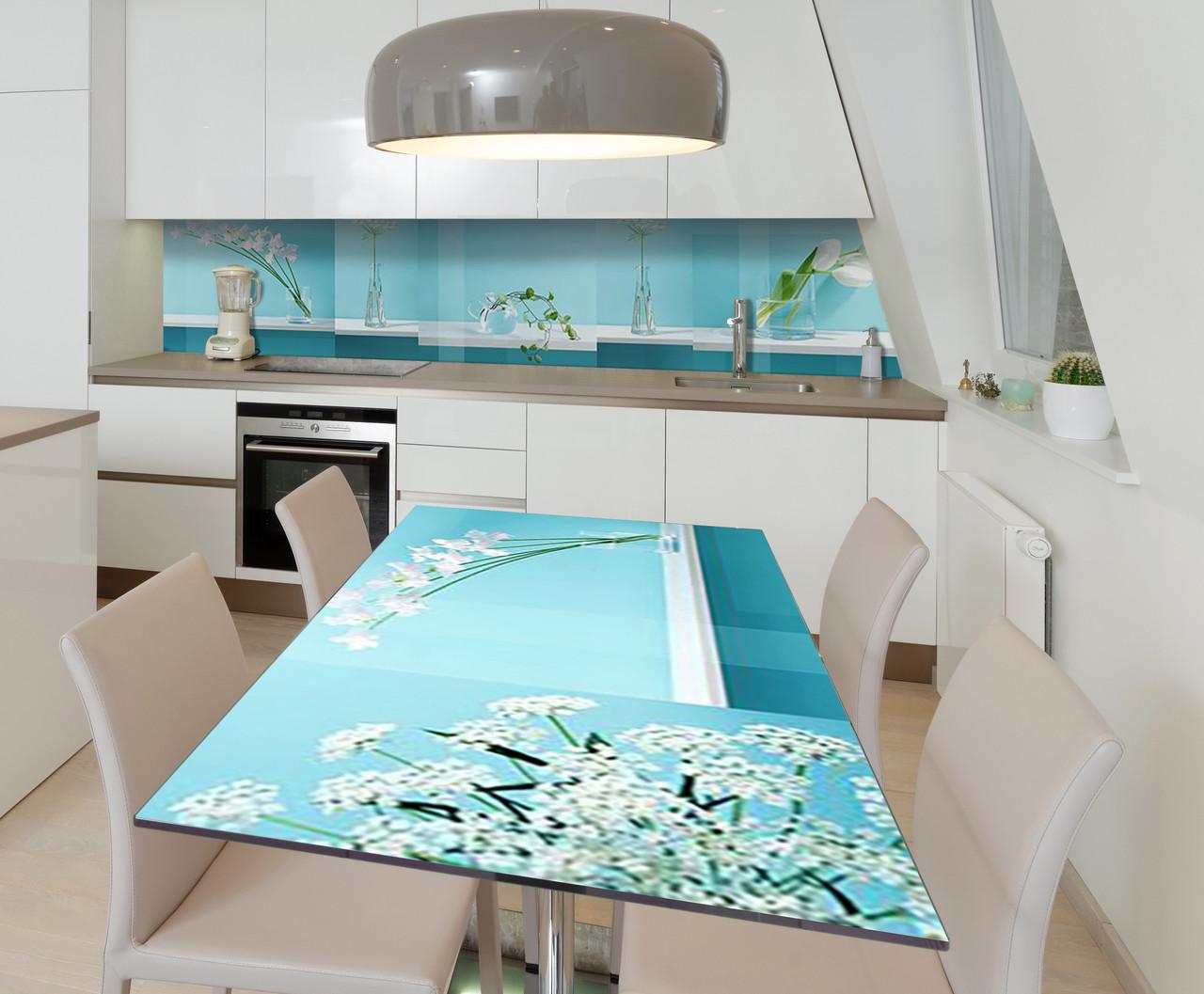 Наклейка 3Д виниловая на стол Zatarga «Необычные Цветы» 650х1200 мм для домов, квартир, столов, кофейн,