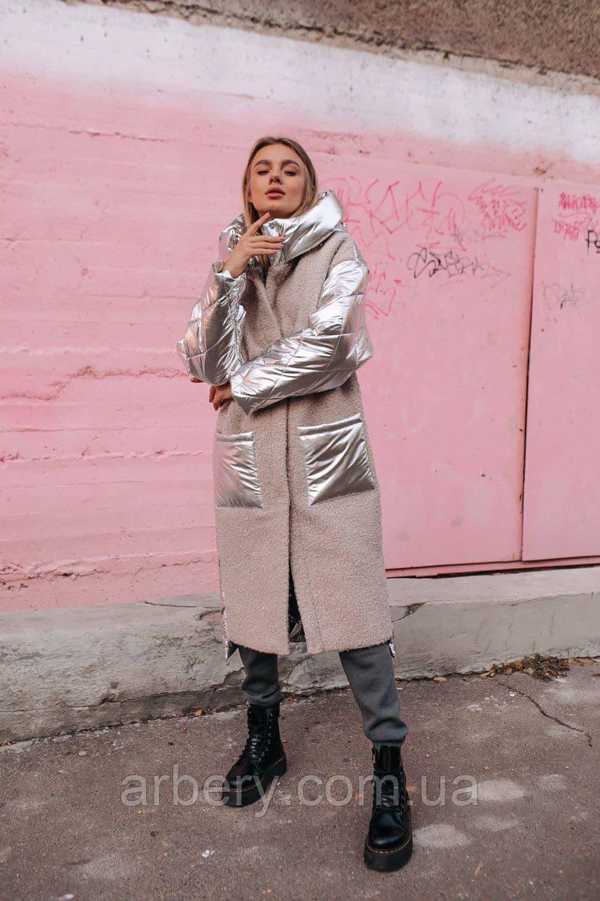 Женская зимняя комбинированная куртка