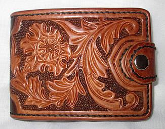 Авторский кожаный кошелек женский мужской портмоне ручной работы Сова птица Грифон Лев Орел Цветы
