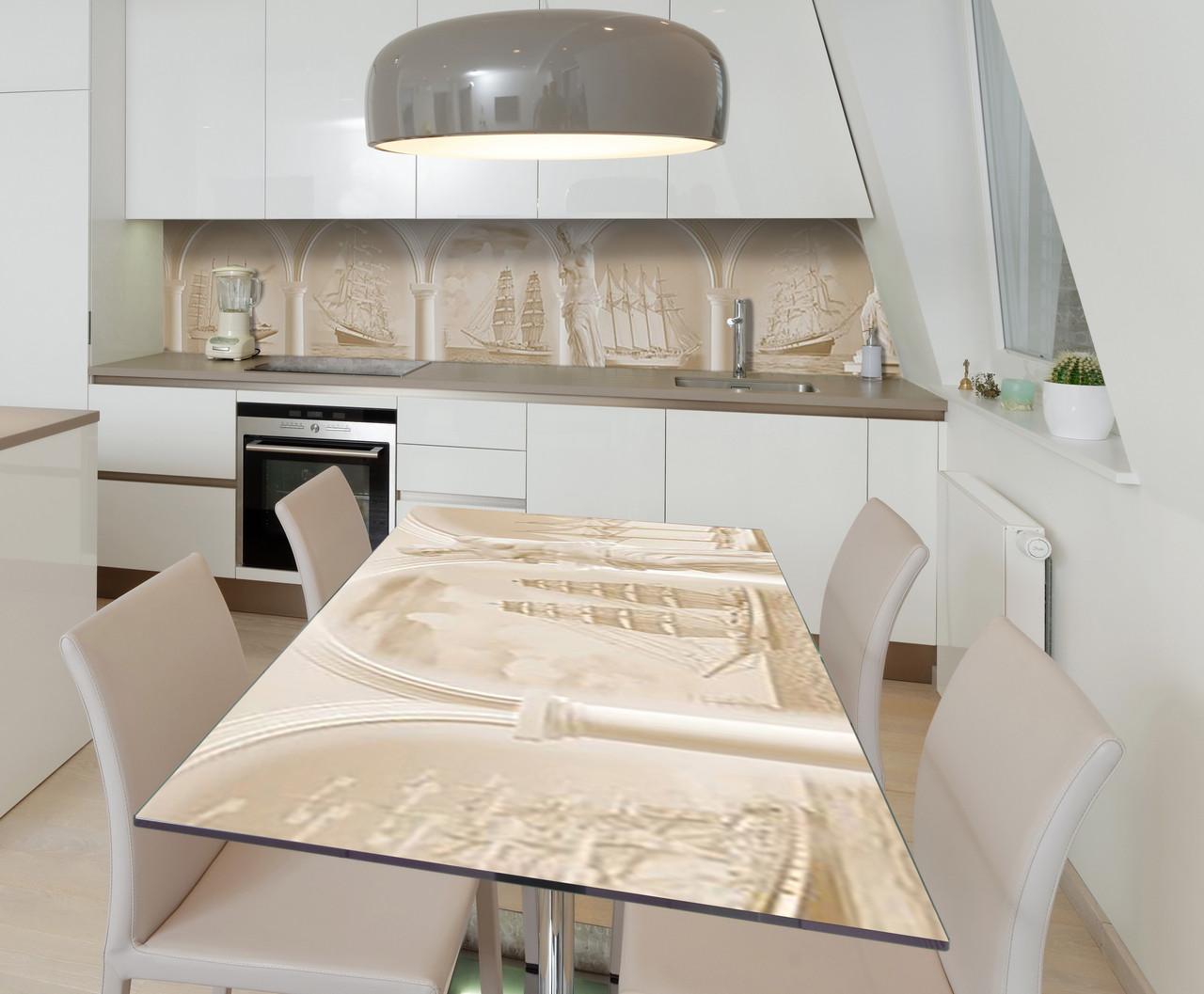 Наклейка 3Д виниловая на стол Zatarga «Винтажные Корабли» 650х1200 мм для домов, квартир, столов,