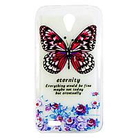 """Чехол-накладка для Lenovo S820, """"Butterfly with flowers"""", со стразами, силиконовый  /case/кейс /леново"""