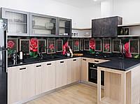 """Скинали на кухню Zatarga  """"Розы в Рамках""""  650х2500 мм виниловая 3Д наклейка кухонный фартук самоклеящаяся, фото 1"""