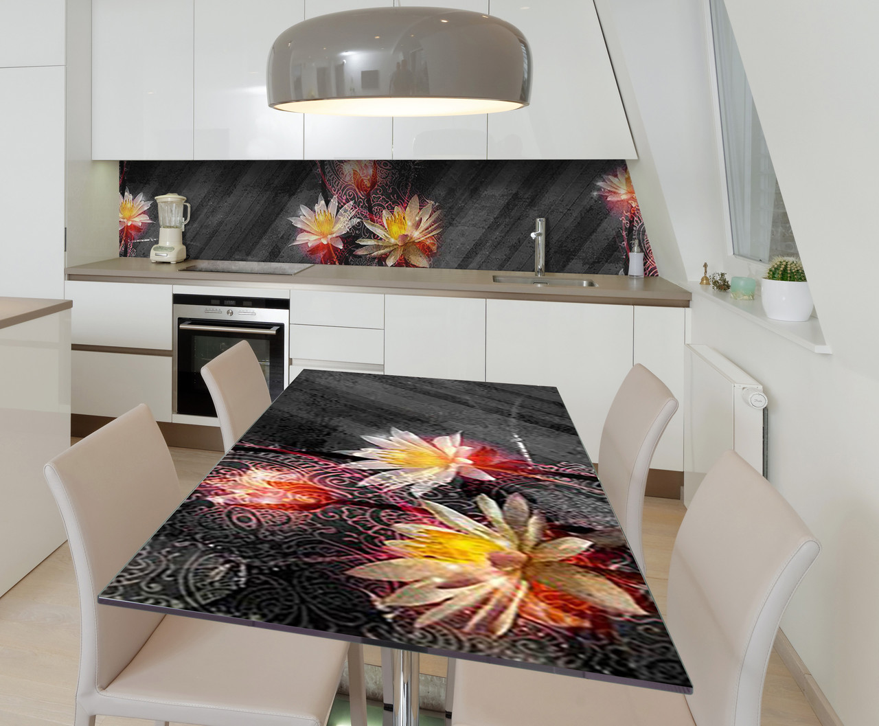 Наклейка 3Д виниловая на стол Zatarga «Лотос на Бетоне» 650х1200 мм для домов, квартир, столов, кофейн,