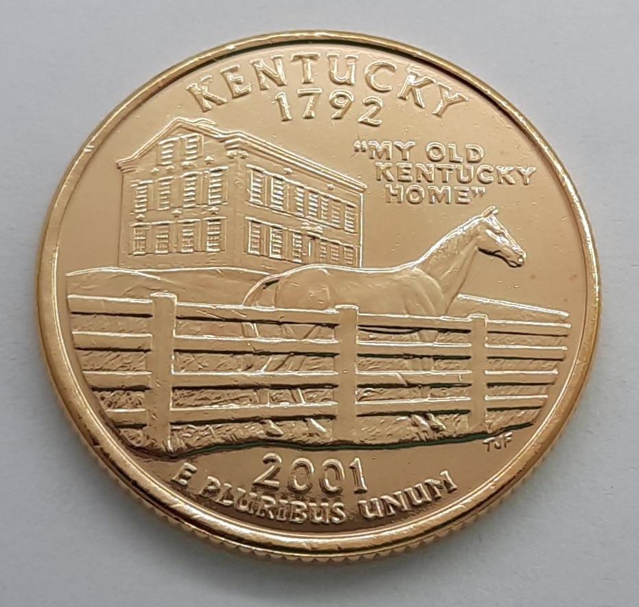 США 25 центов 2001 Кентуки D Позолота