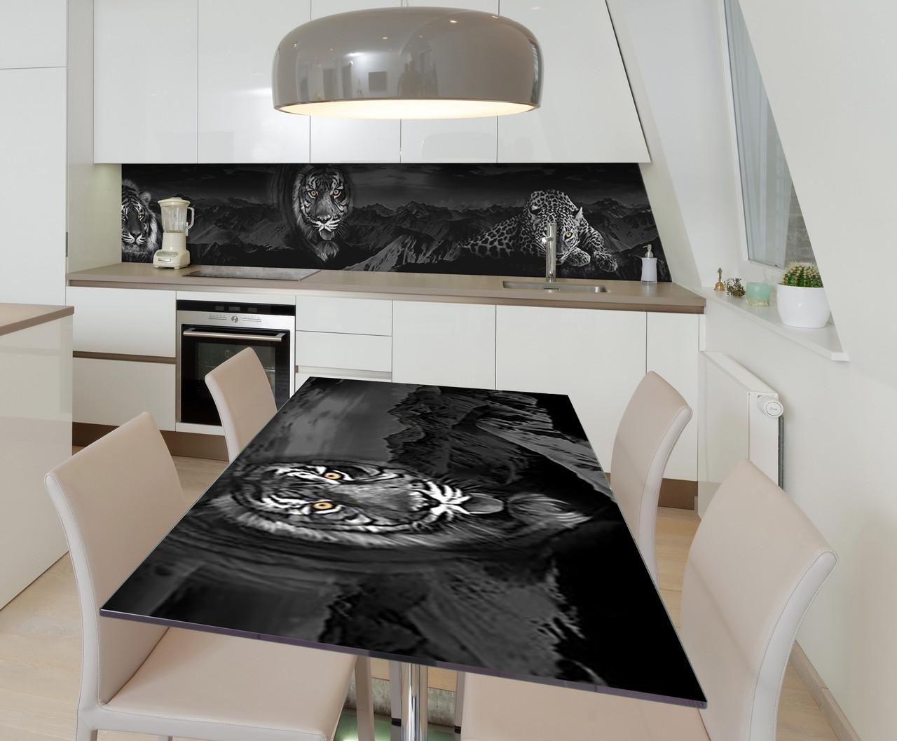 Наклейка 3Д виниловая на стол Zatarga «Тигр Леопард» 650х1200 мм для домов, квартир, столов, кофейн,