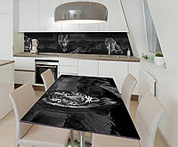 Наклейка 3Д виниловая на стол Zatarga «Тигр Леопард» 650х1200 мм для домов, квартир, столов, кофейн,, фото 1
