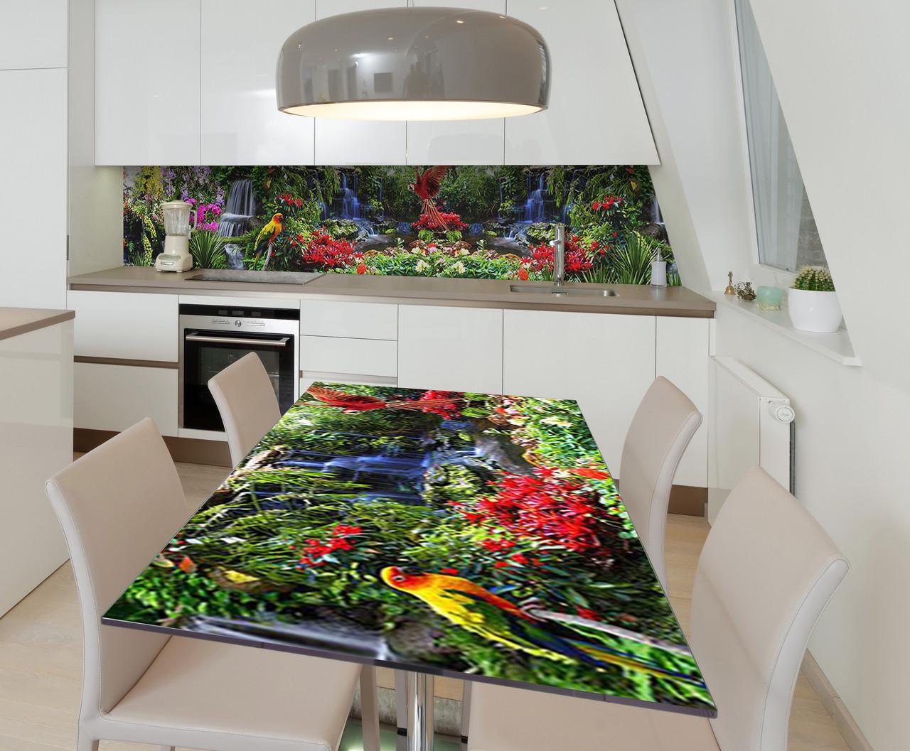 Наклейка 3Д виниловая на стол Zatarga «Тропический Попугай» 600х1200 мм для домов, квартир, столов,