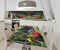 Наклейка 3Д виниловая на стол Zatarga «Тропический Попугай» 600х1200 мм для домов, квартир, столов, , фото 1